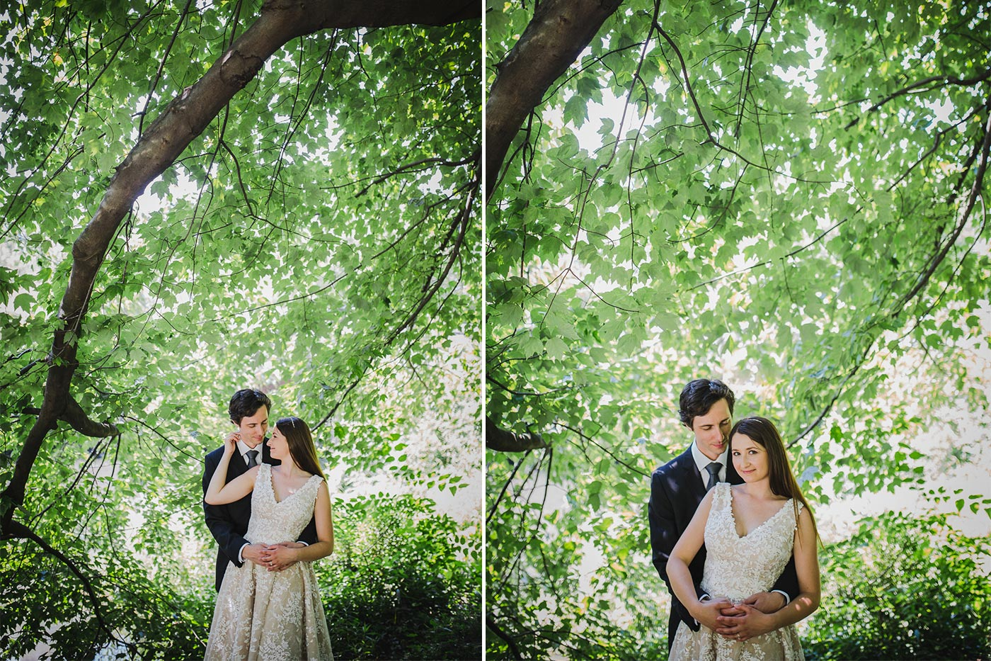 two photos of kasia and ben holding each other during their engagement shoot