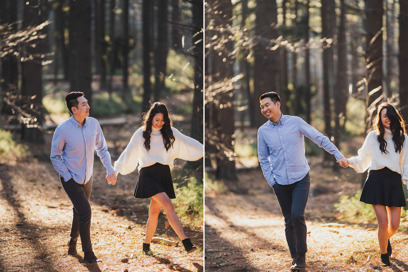 Couple strolling through the park during an engagement session at Prosser Pines by Weddings by Hanel