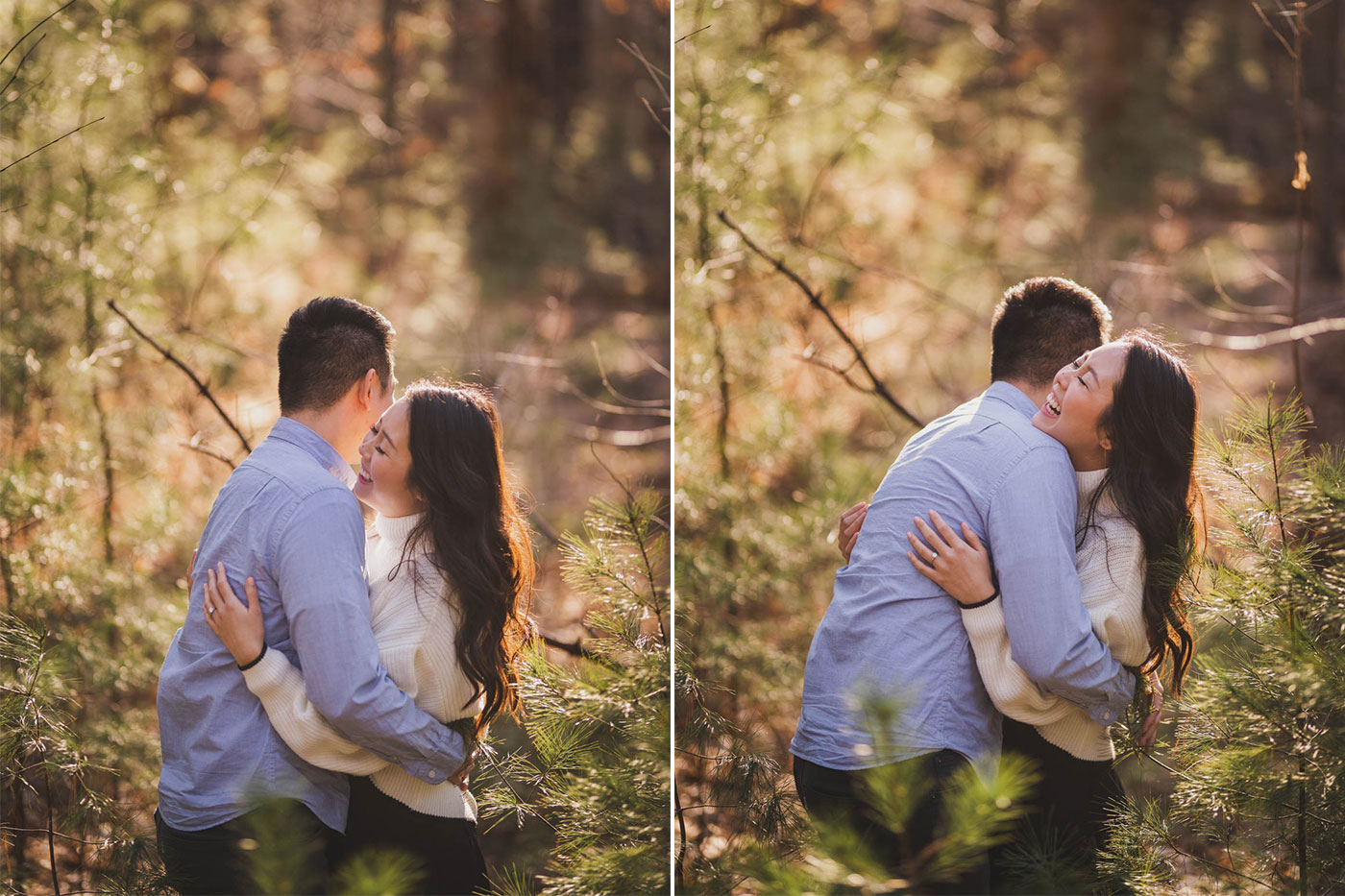 Couple laughing together during engagement session at Prosser Pines by Weddings by Hanel