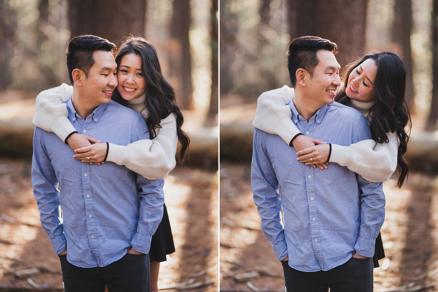 Cute couple during their engagement session at Prosser Pines by Weddings by Hanel
