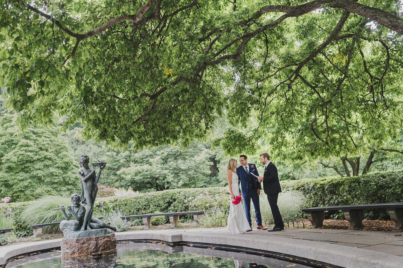 Jane & Neil at the Conservatory Garden for their elopement ceremony