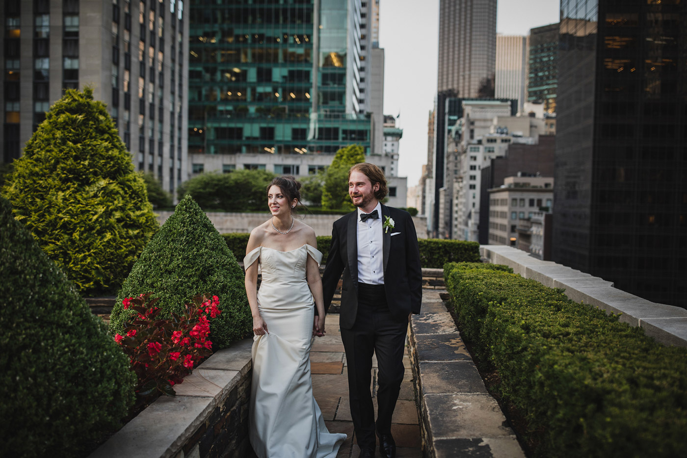 portrait of bride and groom at a wedding at 620 loft & garden