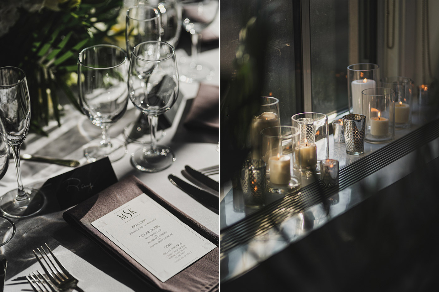 table setting and decor at a 620 Loft & garden wedding