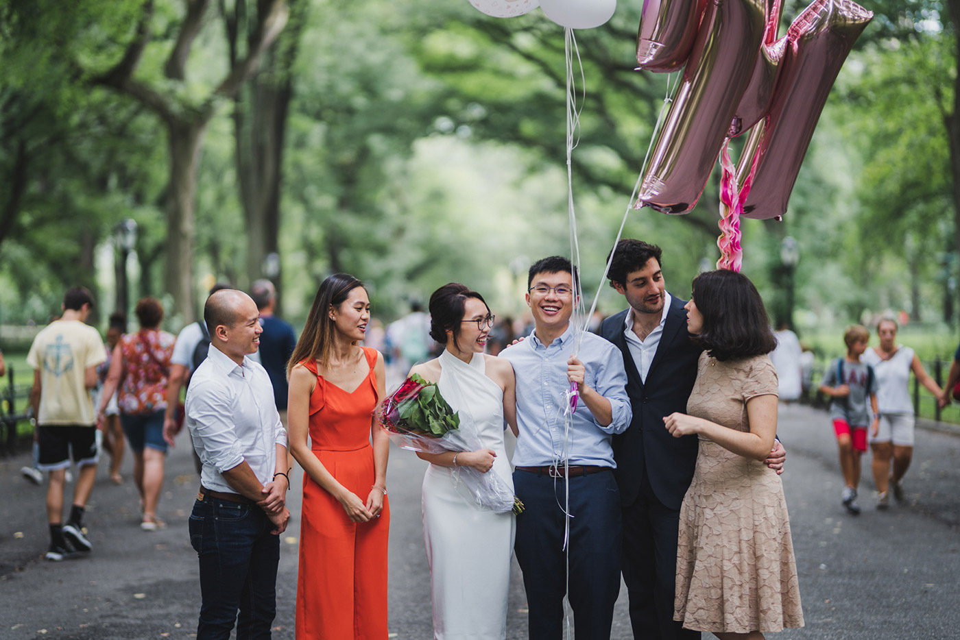 Bridal party at a Central Park proposal