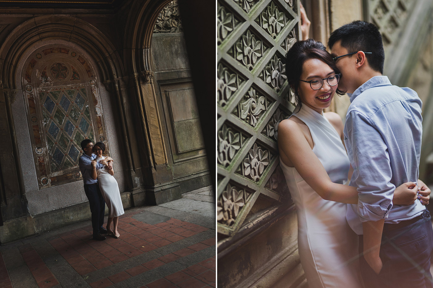 Newly engaged couple at the Bethesda Terrace in Central Park, right after their proposal
