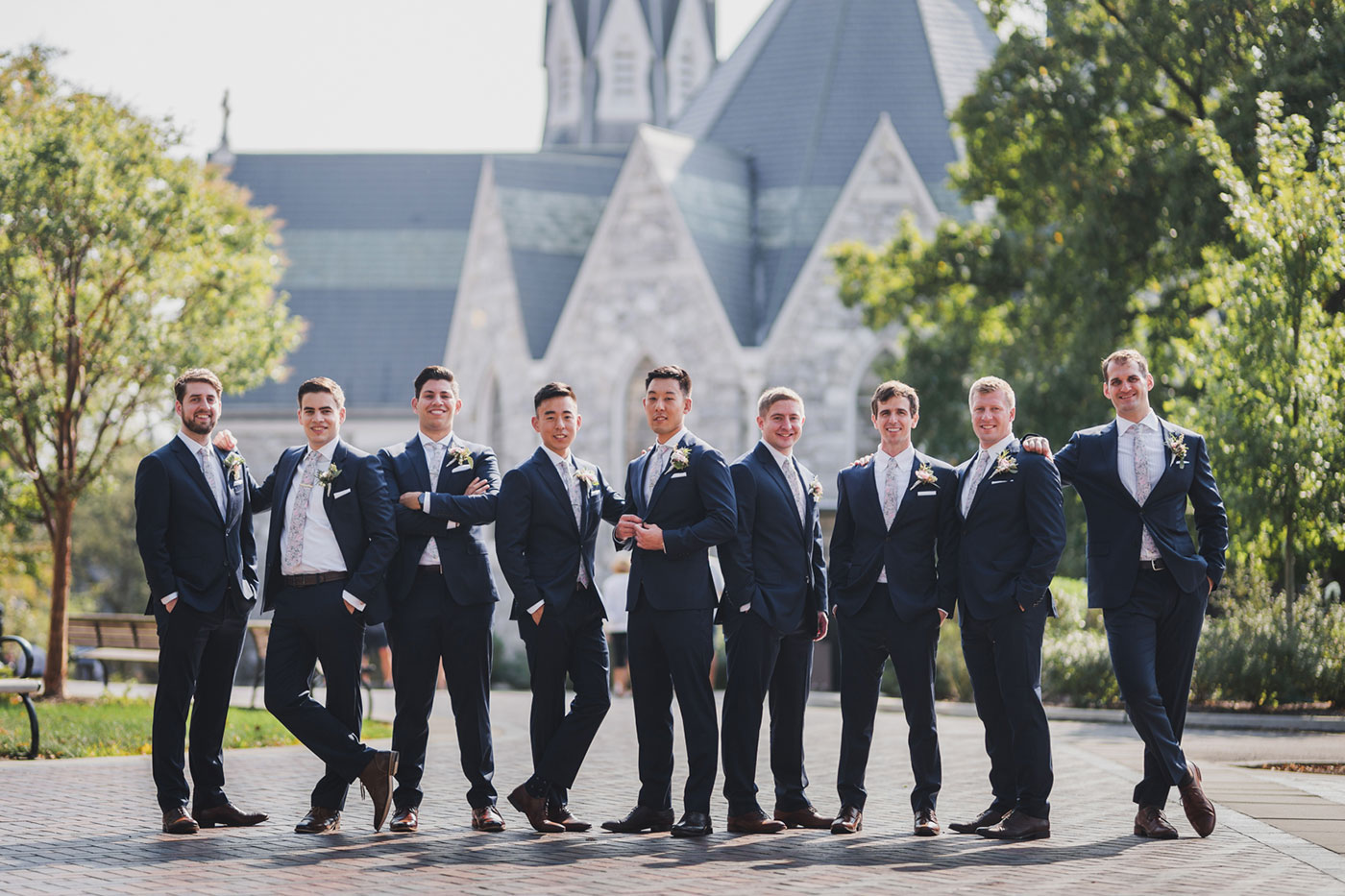 groom and groomsmen from a wedding at Saint Thomas of Villanova by Weddings by Hanel