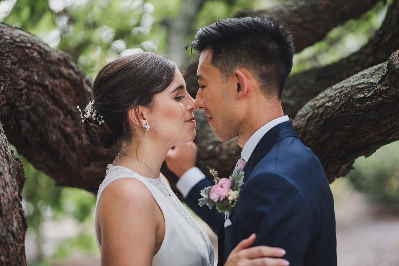 bride and groom from a wedding at Saint Thomas of Villanova by Weddings by Hanel