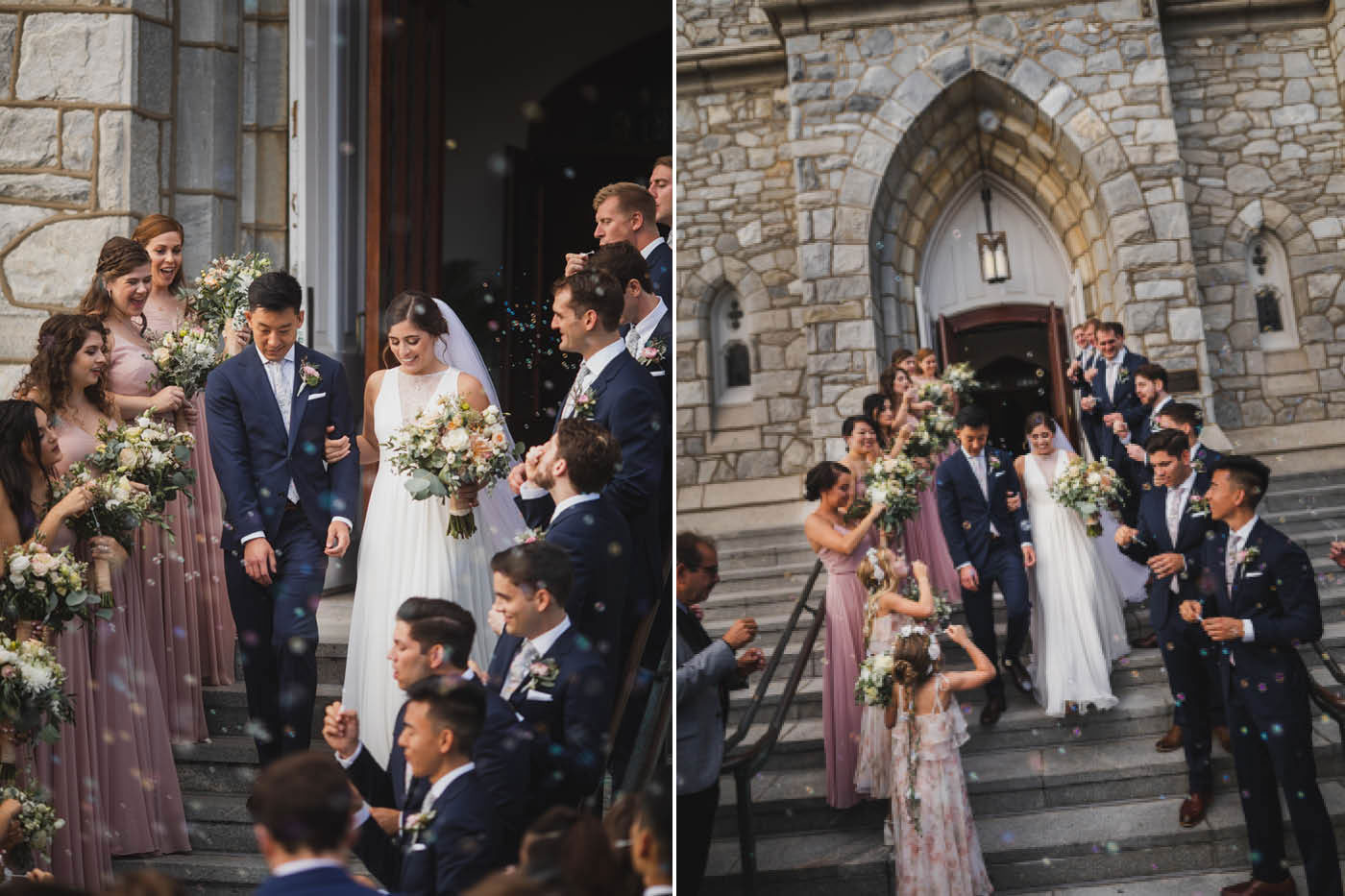 walking down the steps from a wedding at Saint Thomas of Villanova by Weddings by Hanel