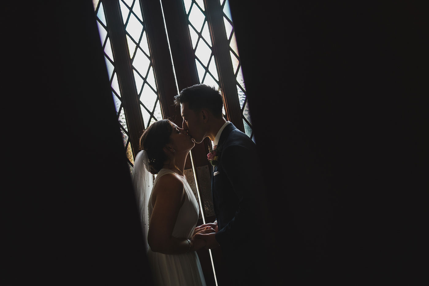 portrait of bride and groom at a wedding at Saint Thomas of Villanova by Weddings by Hanel