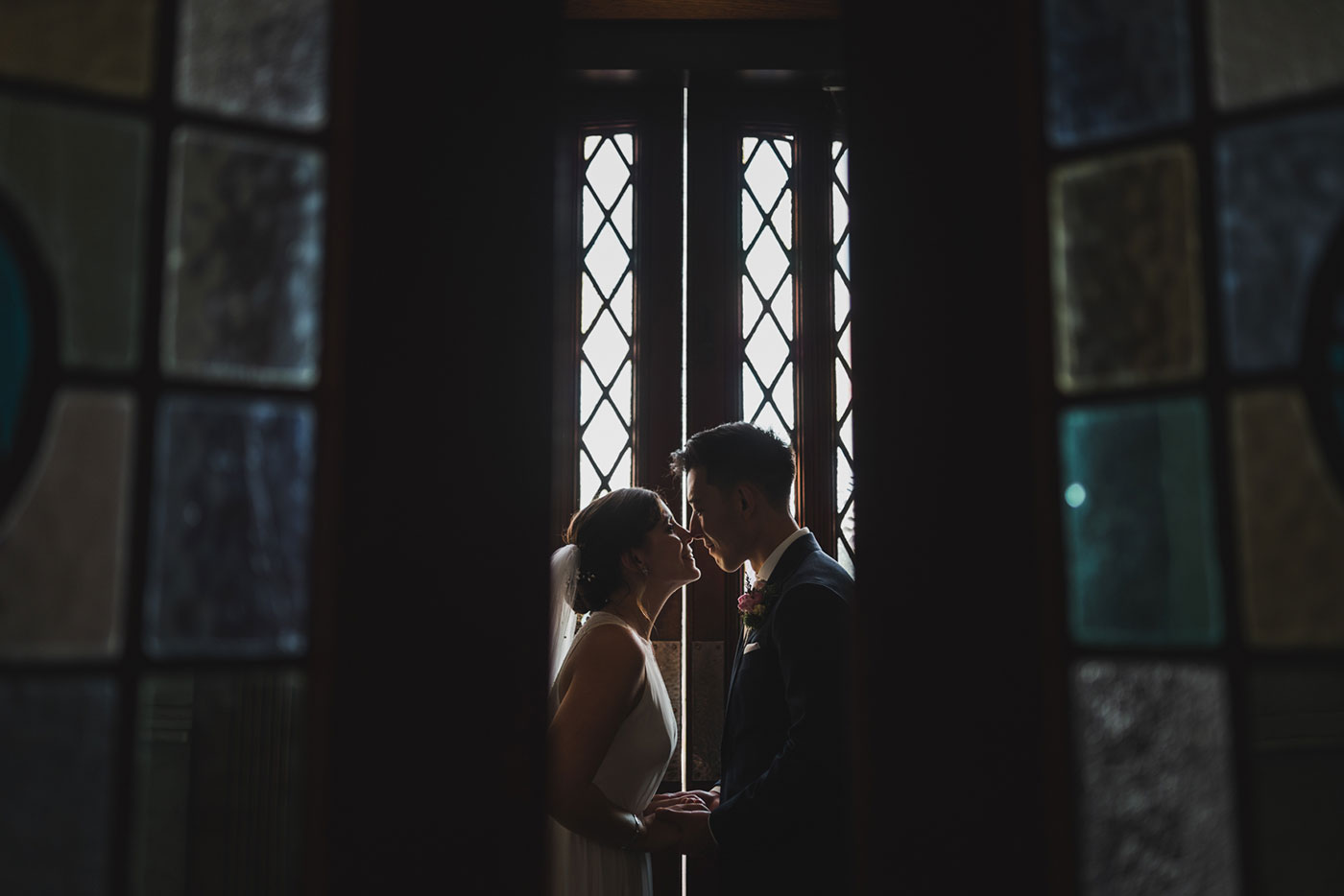 couple portrait of bride and groom at a wedding at Saint Thomas of Villanova by Weddings by Hanel