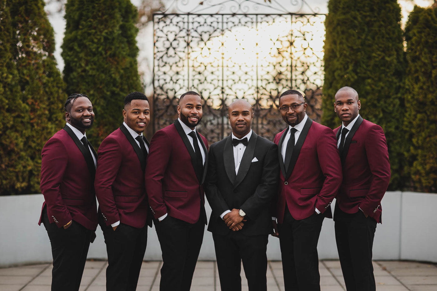 groom and groomsmen at the palace at Somerset park by weddings by H