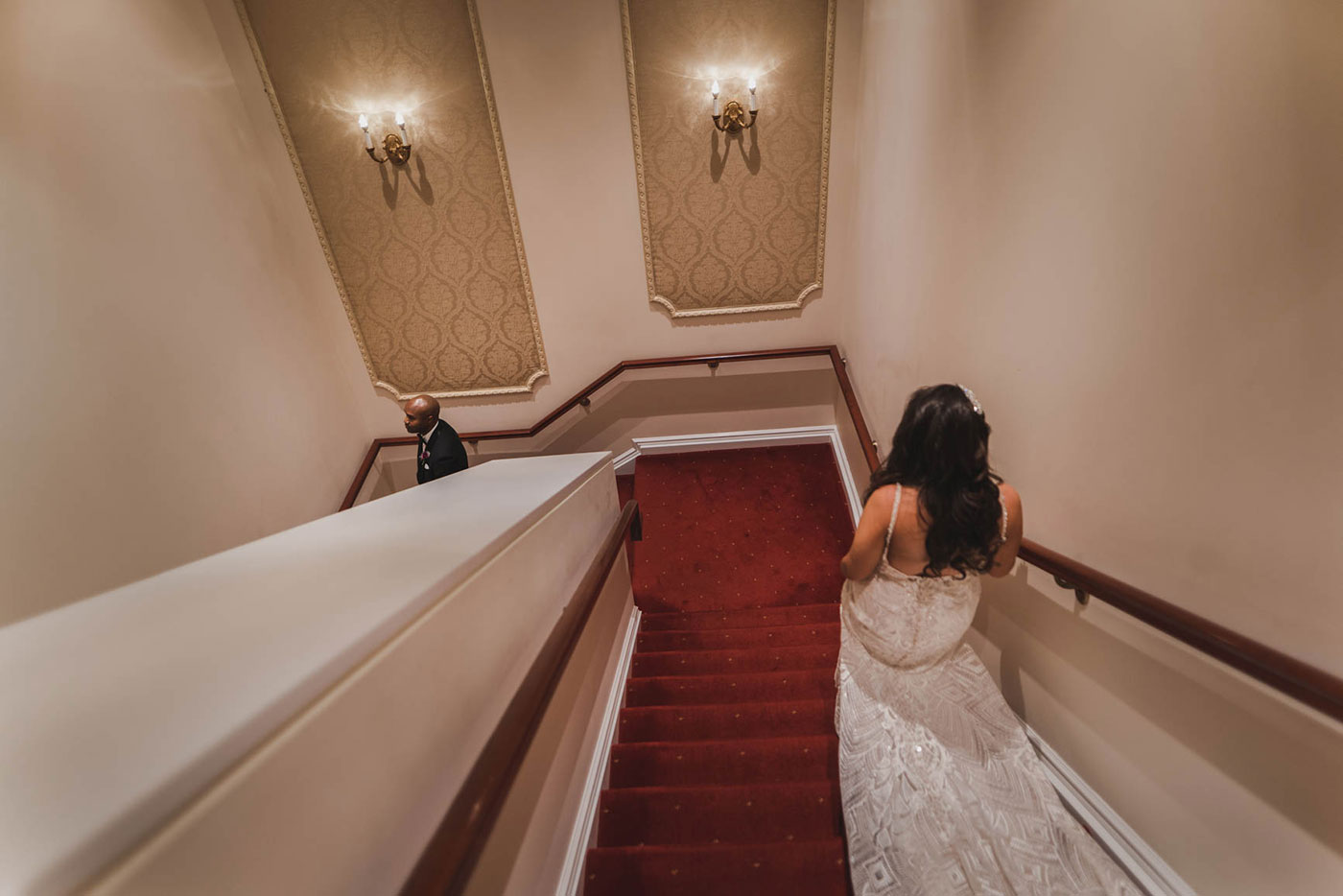 bride walking to groom for first look at the palace at Somerset park by weddings by H