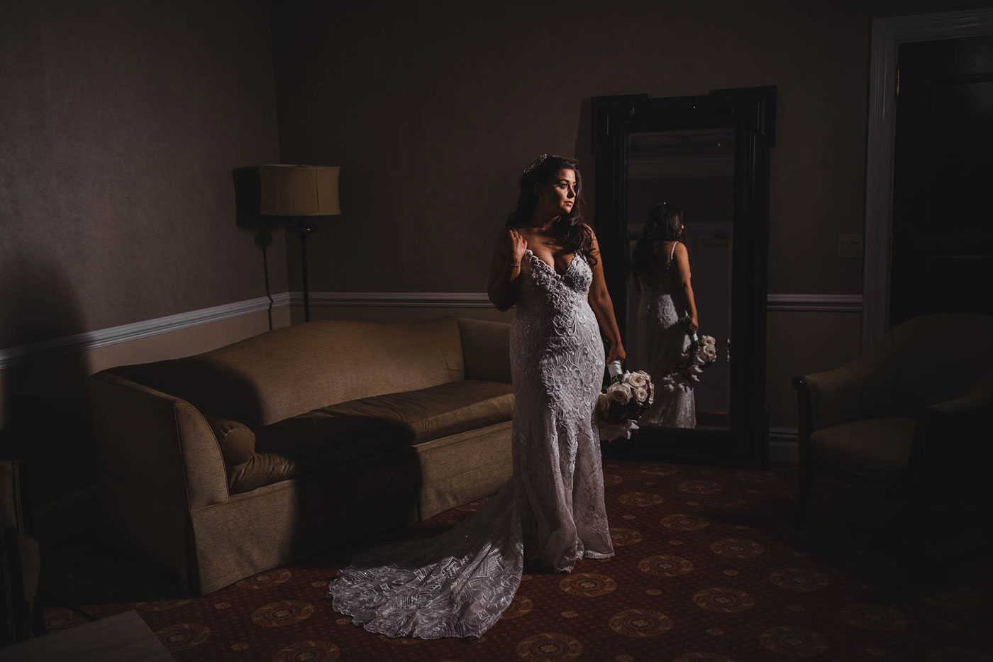 portrait of bride at the palace at Somerset park by weddings by H