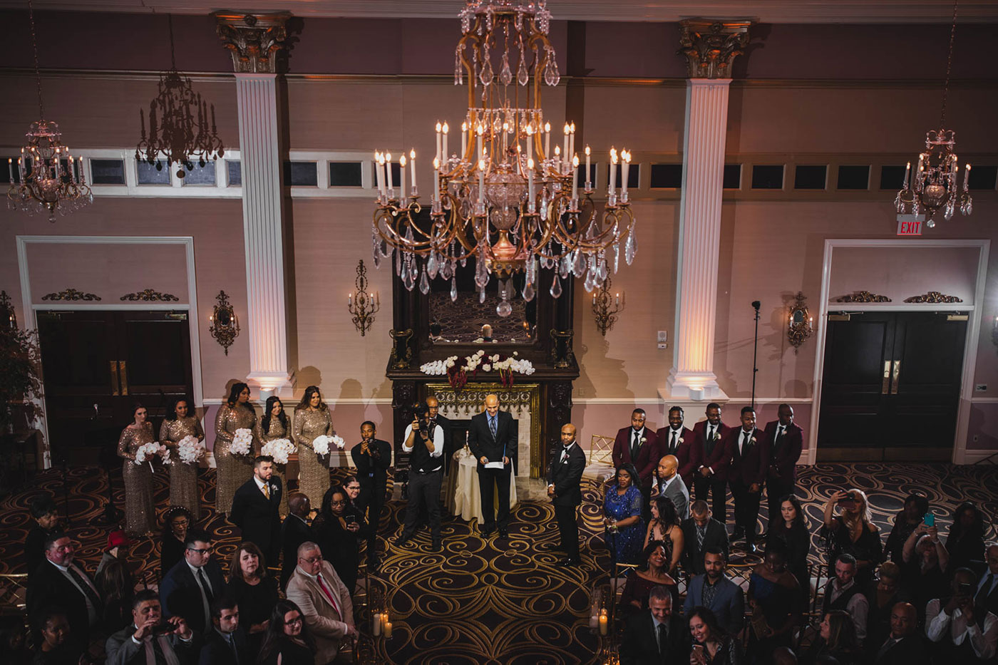 ceremony at at the palace at Somerset park by weddings by H