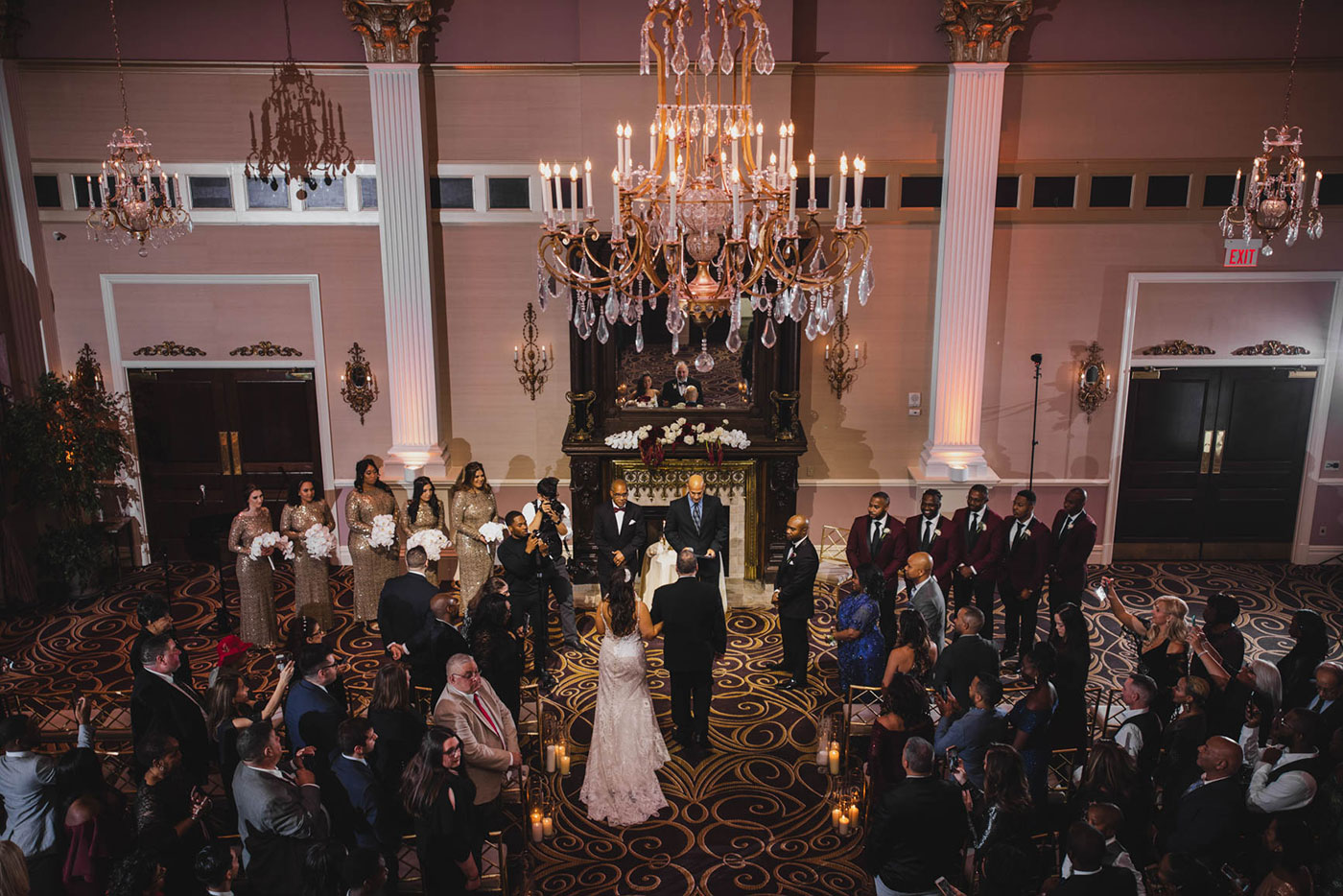 ceremony from balcony at the palace at Somerset park by weddings by H