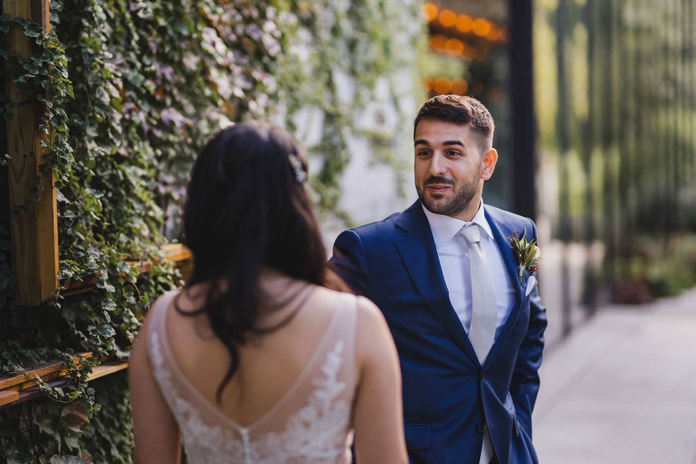 First Look from an elopement at Jane's Carousel in Brooklyn Bridge Park by Weddings by Hanel