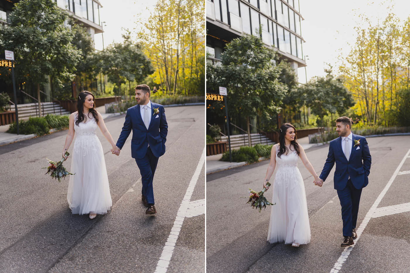 Bride and Groom from an elopement at Jane's Carousel in Brooklyn Bridge Park by Weddings by Hanel