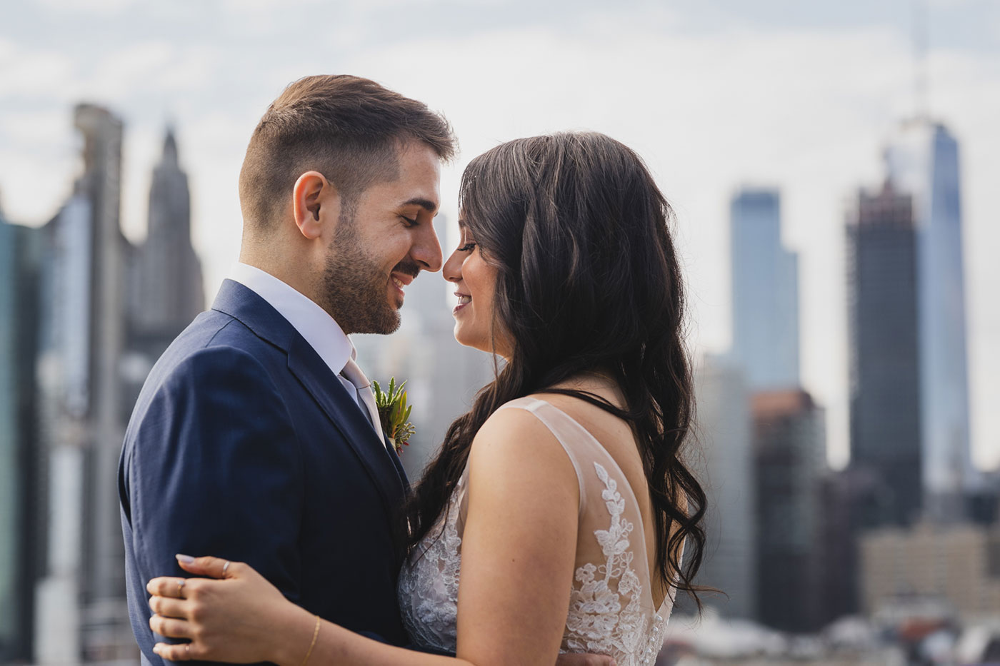 Couple Portrait from an elopement at Jane's Carousel in Brooklyn Bridge Park by Weddings by Hanel