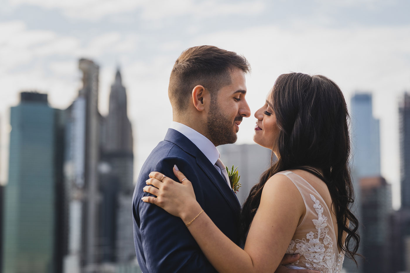 Bride and groom portrait from an elopement at Jane's Carousel in Brooklyn Bridge Park by Weddings by Hanel