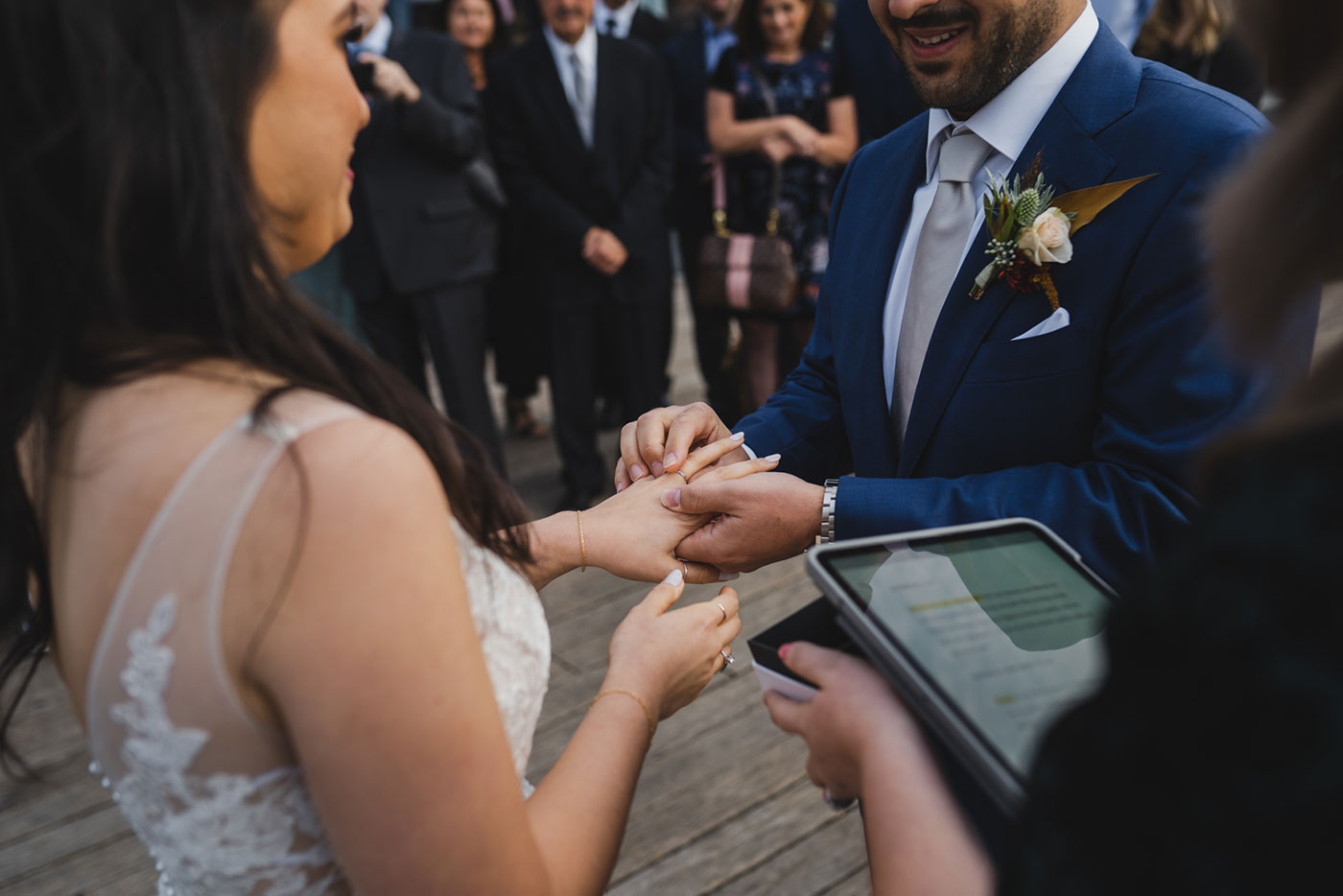 wedding ceremony Portrait of bride and groom at an elopement at Jane's Carousel in Brooklyn Bridge Park by Weddings by Hanel