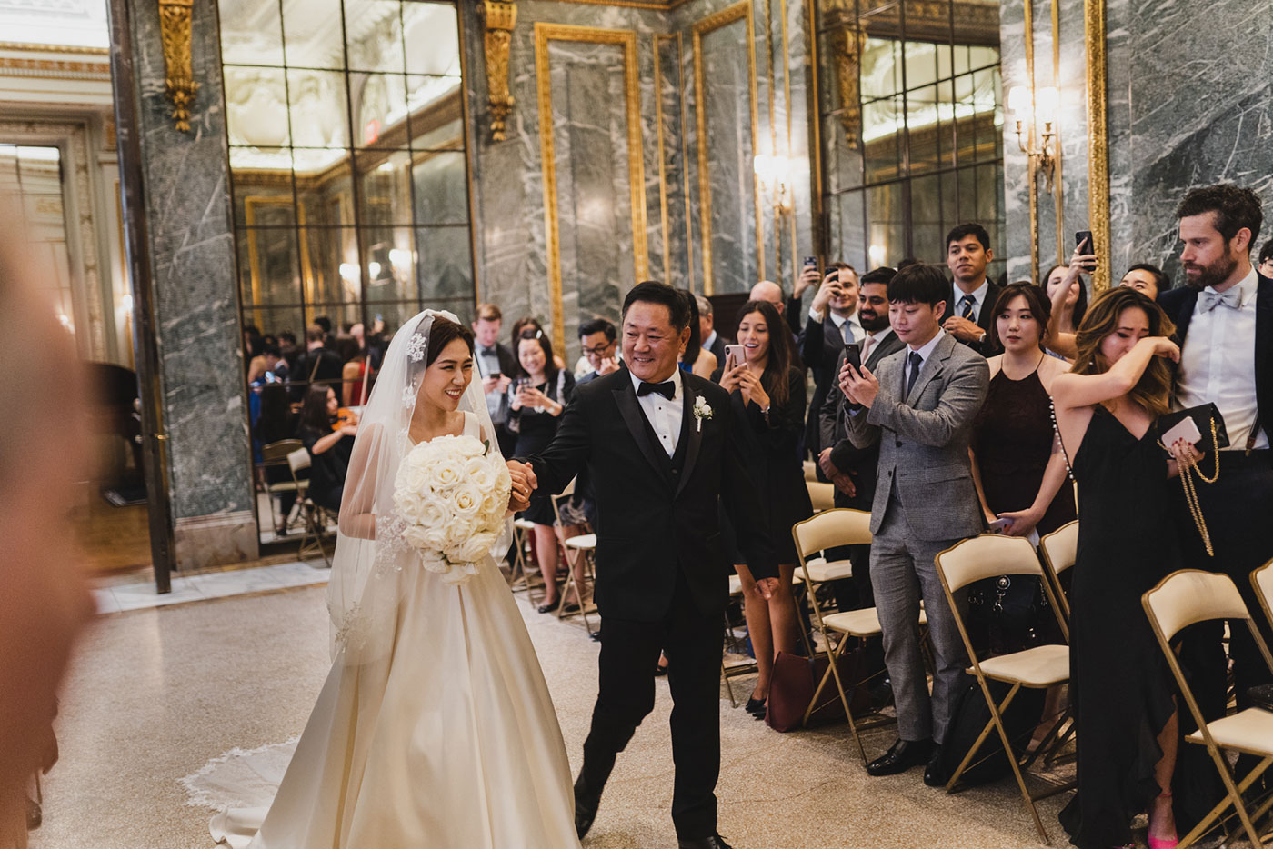 Father walking daughter in at the James Burden Kahn Mansion by Weddings by Hanel