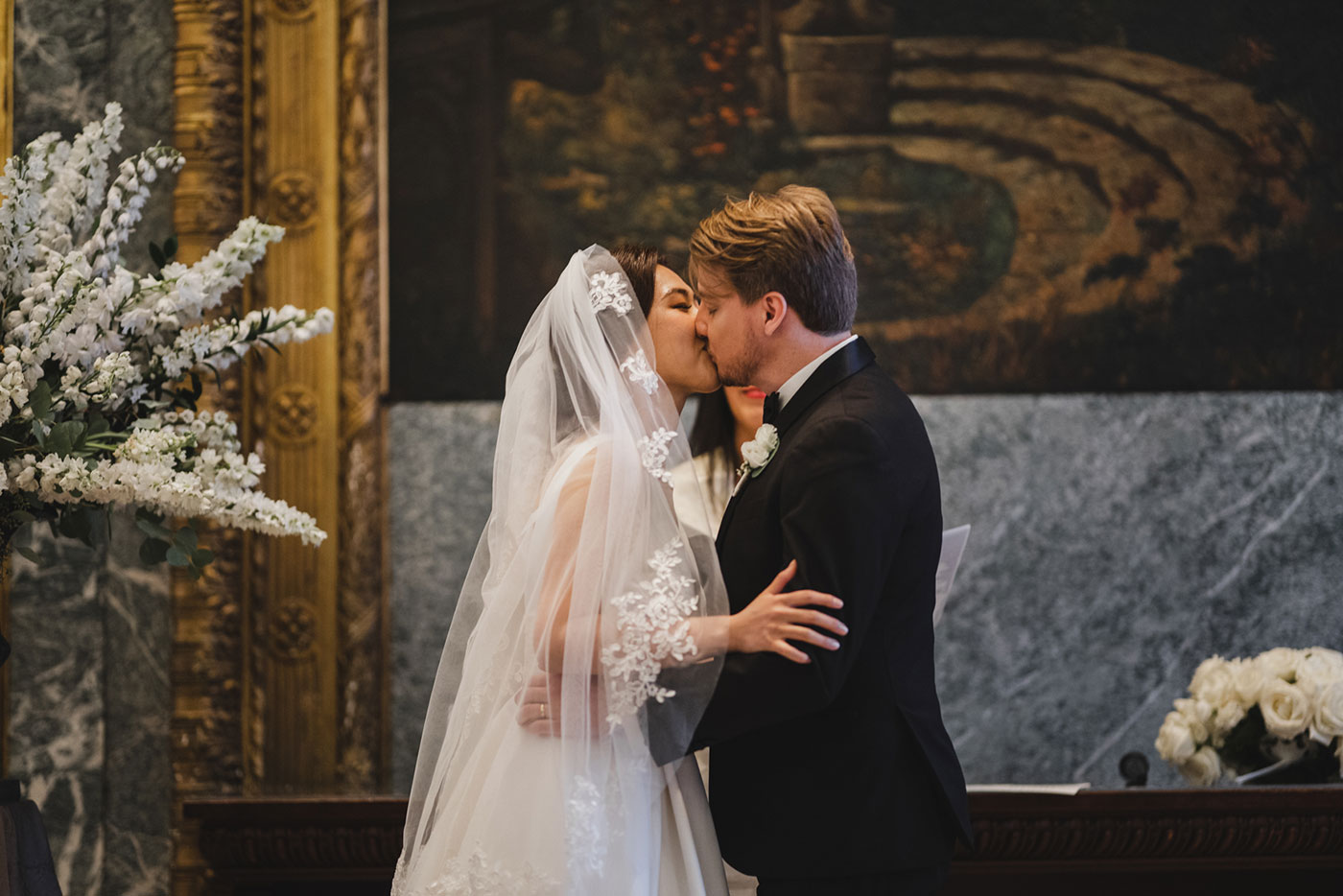 First kiss after ceremony at the James Burden Kahn Mansion by Weddings by Hanel