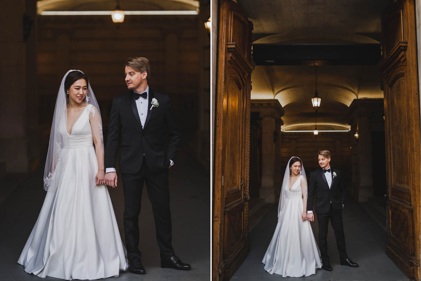 bride and groom portrait at the James Burden Kahn Mansion by Weddings by Hanel