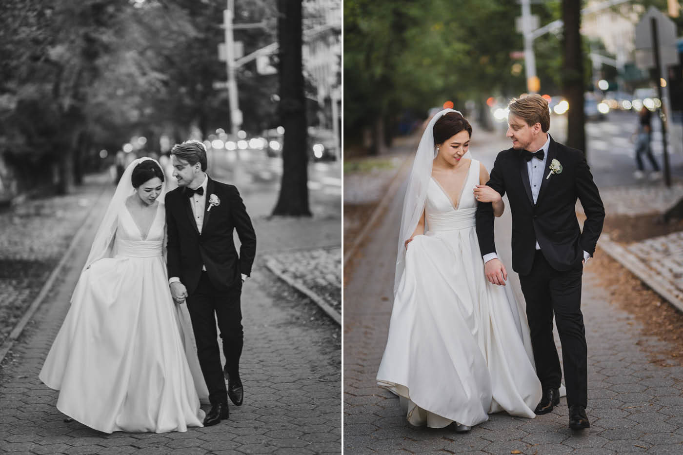 bride and groom going for a stroll at the James Burden Kahn Mansion by Weddings by Hanel