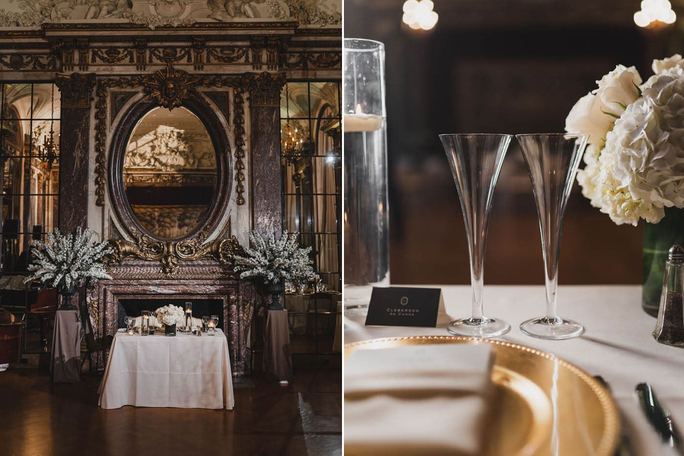 table set at the James Burden Kahn Mansion by Weddings by Hanel