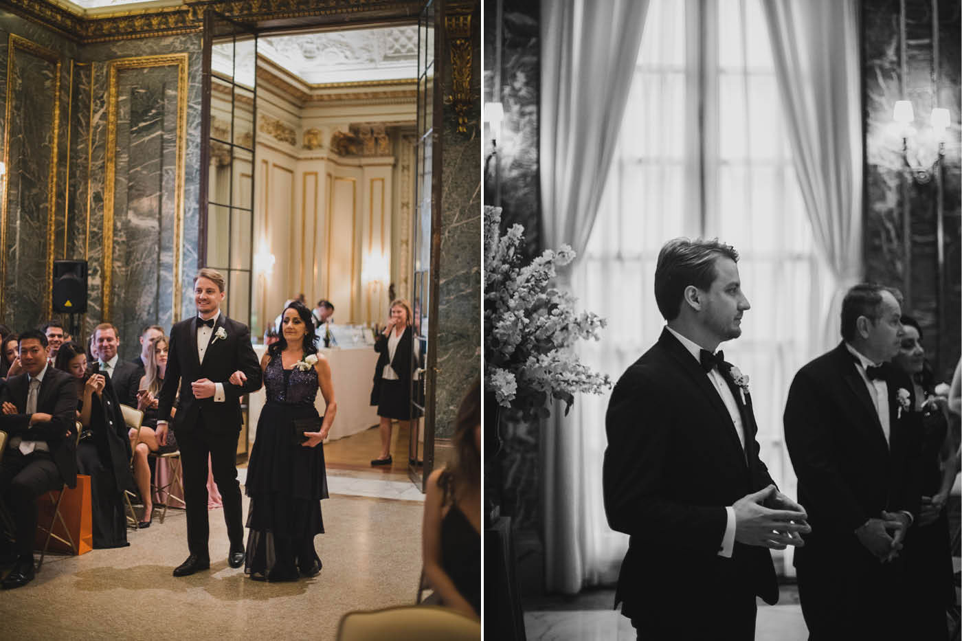 Groom entering ceremony at the James Burden Kahn Mansion by Weddings by Hanel