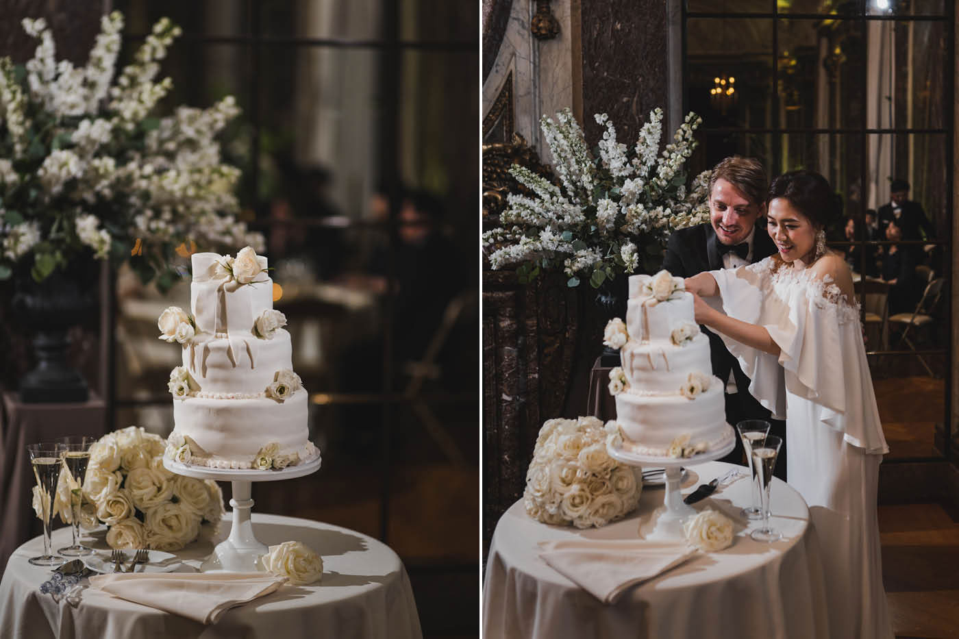 cake cutting at the James Burden Kahn Mansion by Weddings by Hanel