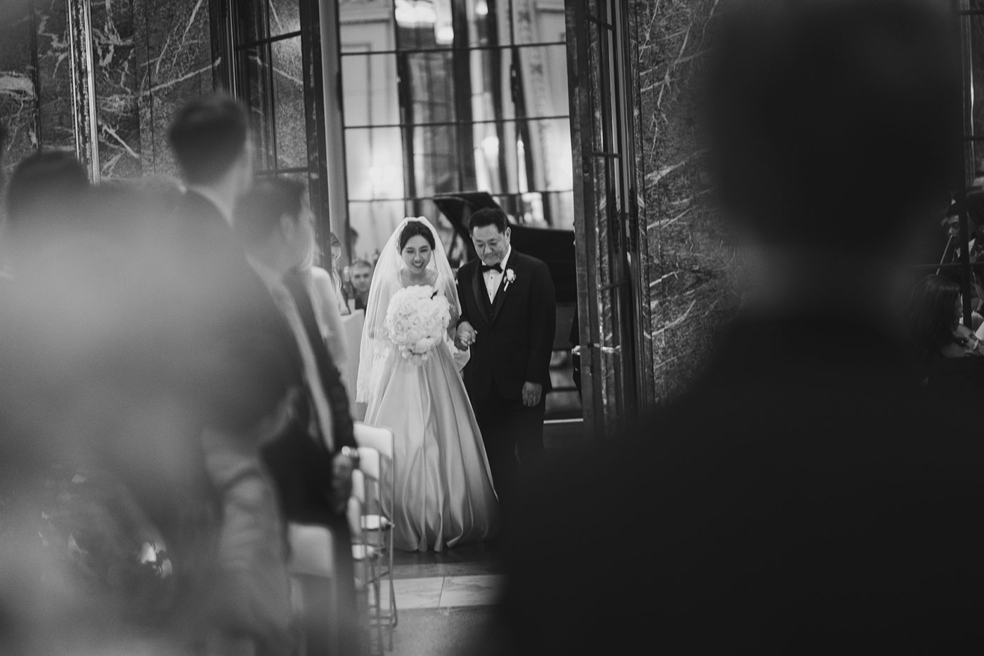 Bride entering ceremony at the James Burden Kahn Mansion by Weddings by Hanel
