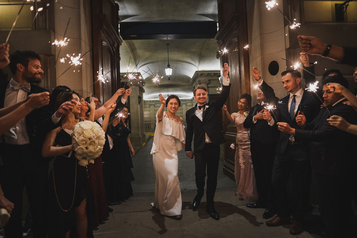 sparkler exit at the James Burden Kahn Mansion by Weddings by Hanel