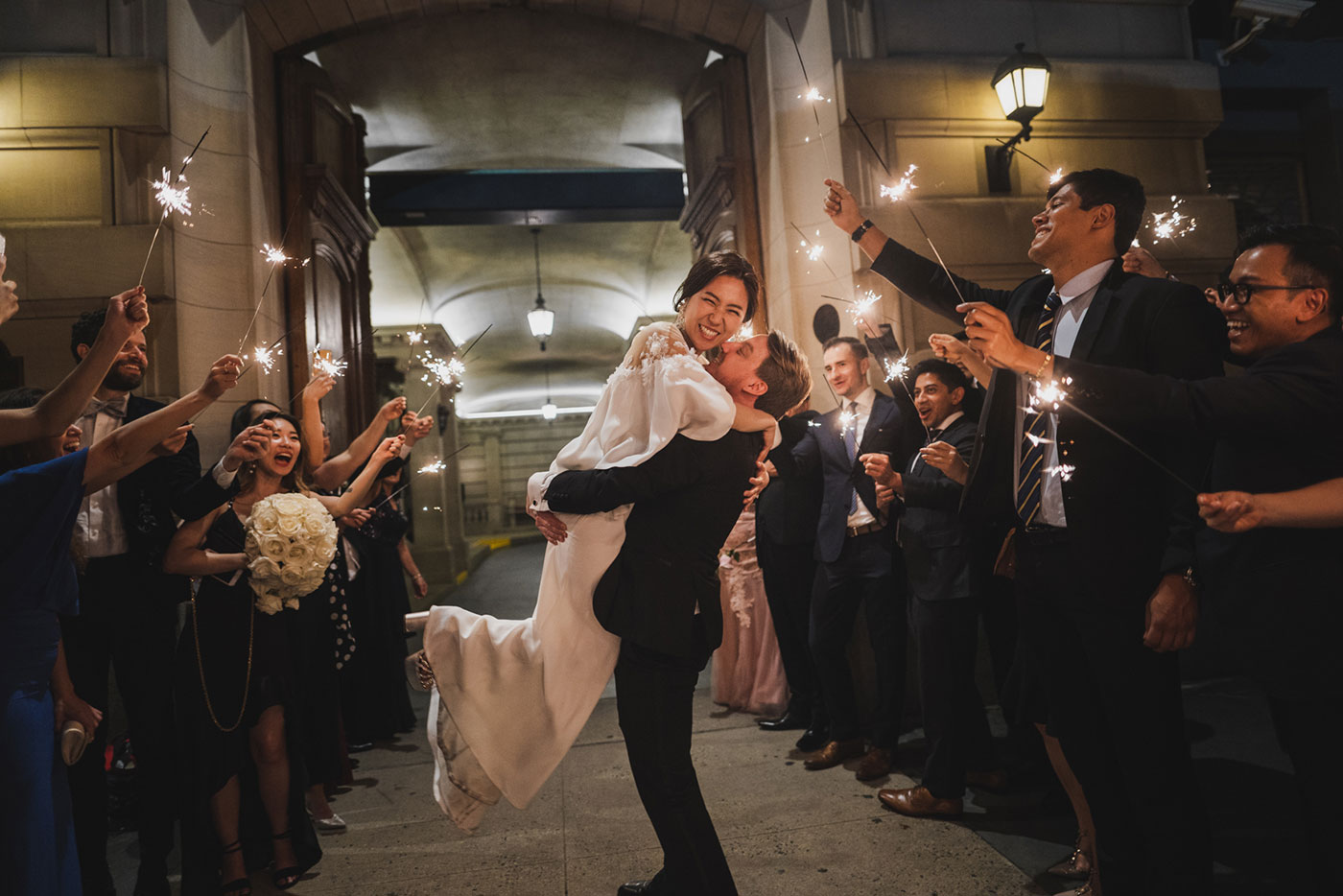 sparkler exit at wedding at the James Burden Kahn Mansion by Weddings by Hanel