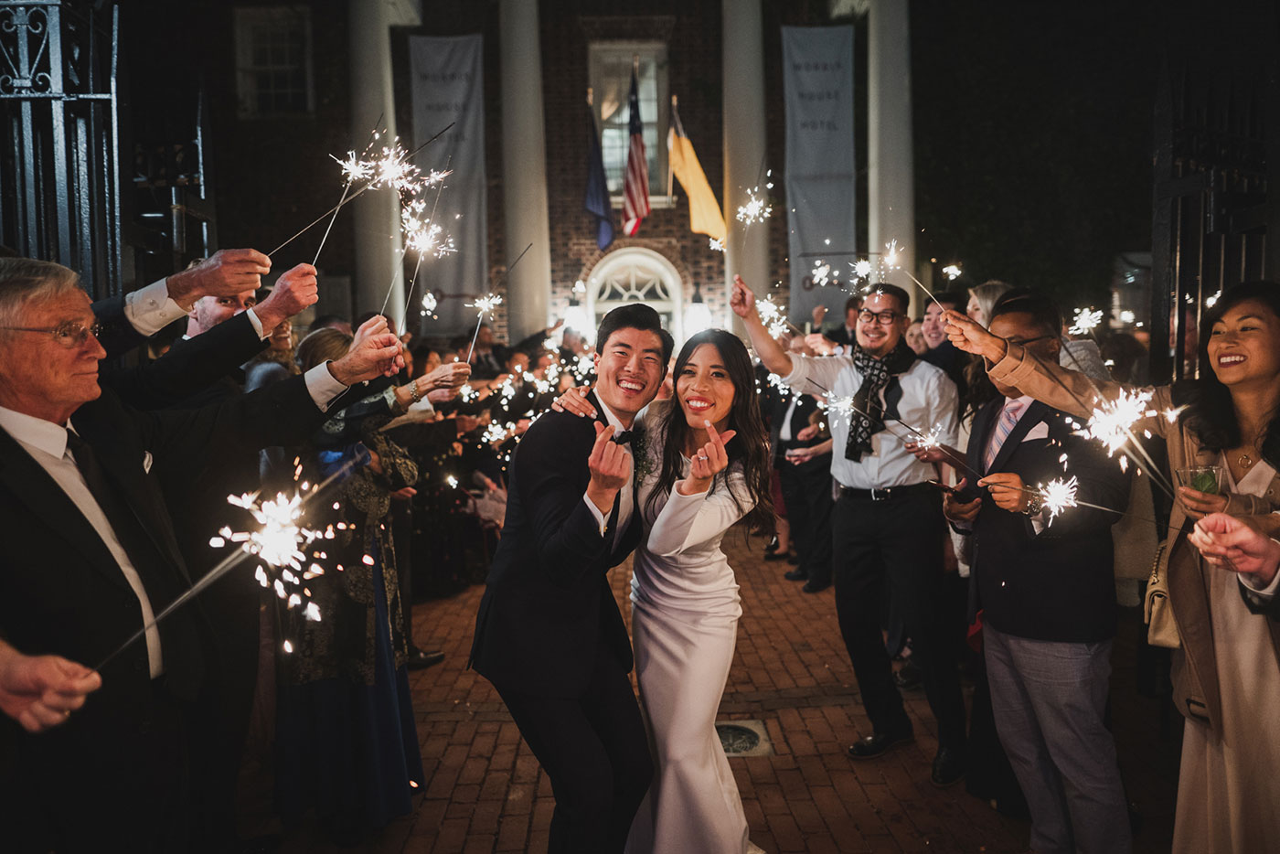 sparkler exit at the Morris House Hotel by Weddings by Hanel
