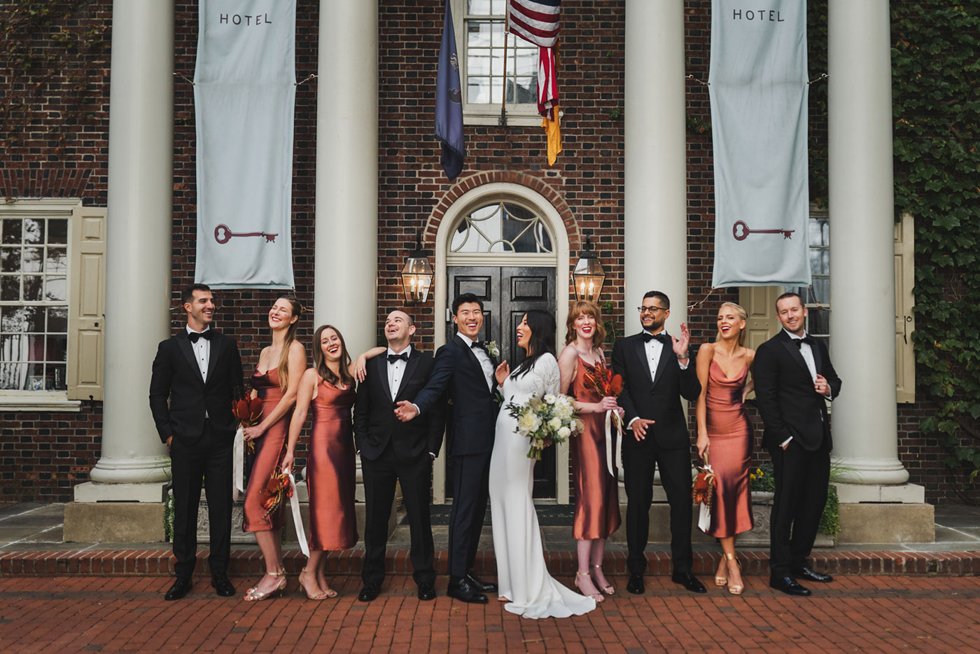 fun bridal party shot at Morris House Hotel by Weddings by Hanel