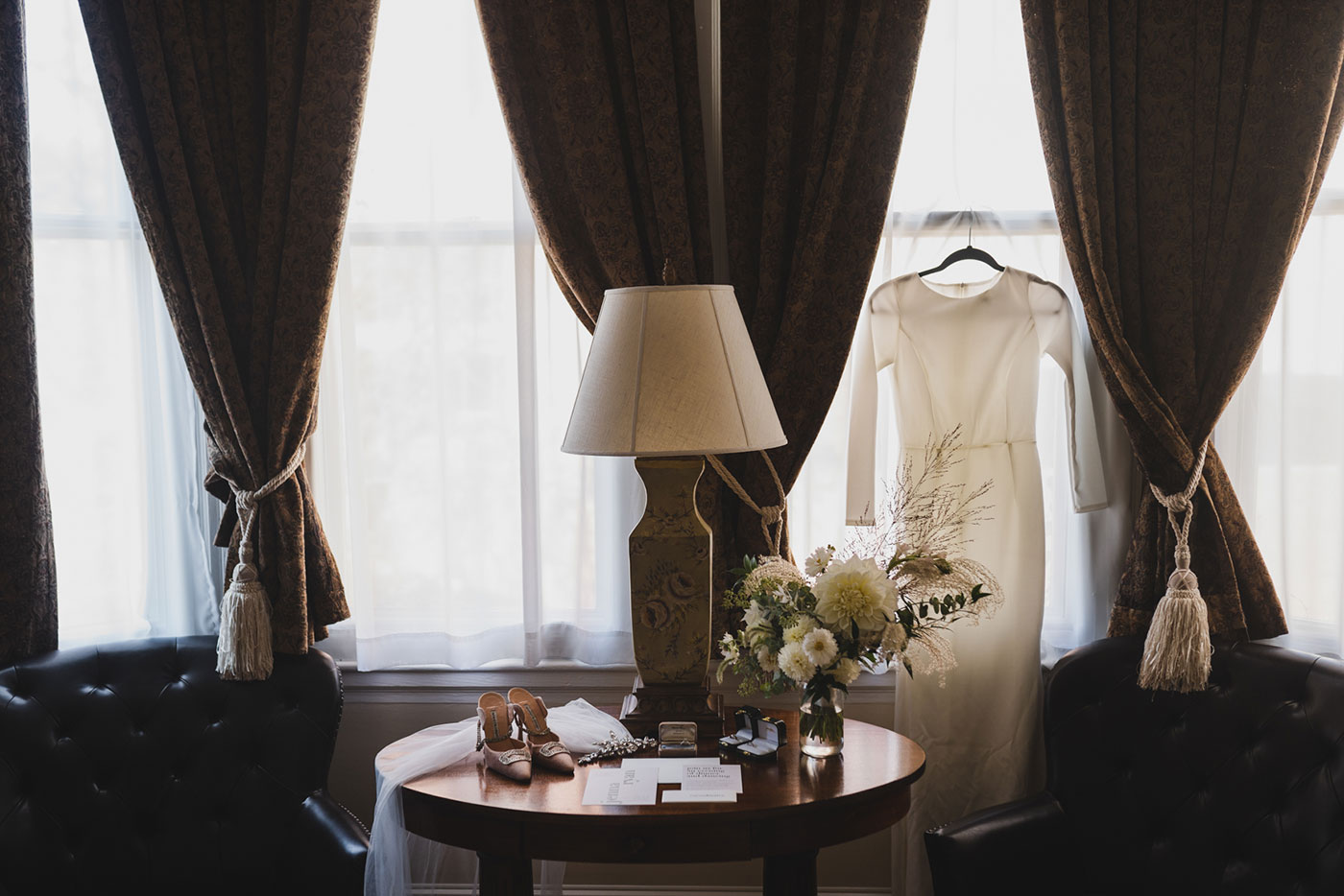 Bride's dress and details at Morris House Hotel by Weddings by Hanel