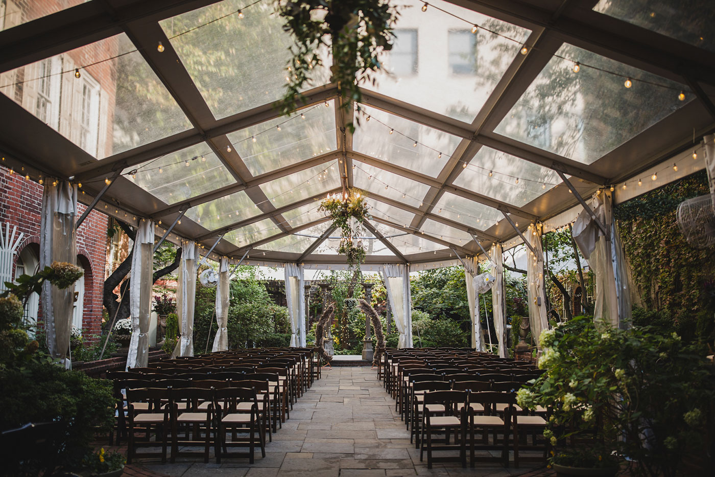 ceremony space at the Morris House Hotel by Weddings by Hanel