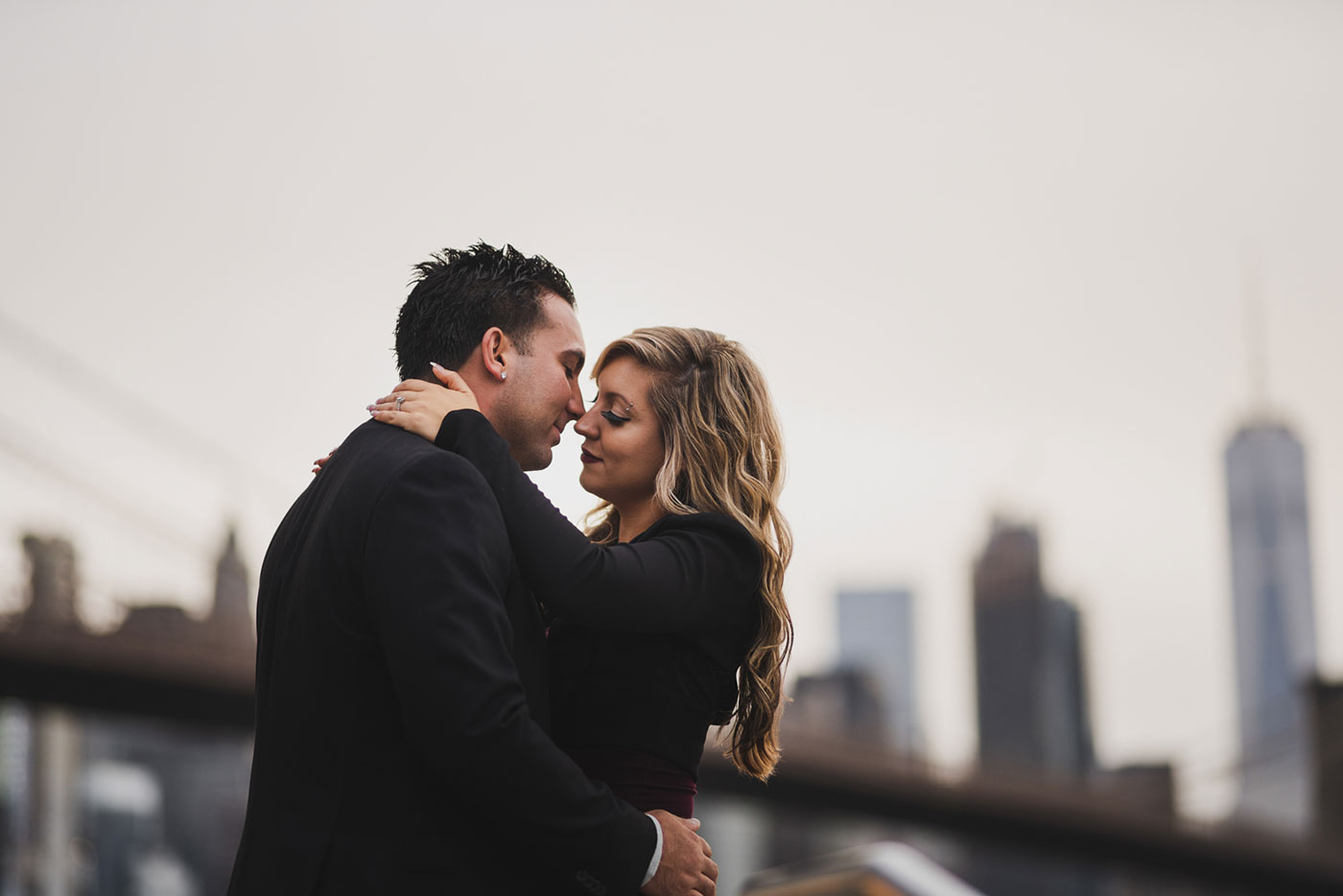 Kristina and Steven's engagement session at the Brooklyn Bridge Park by Jane's Carousel by Weddings by Hanel