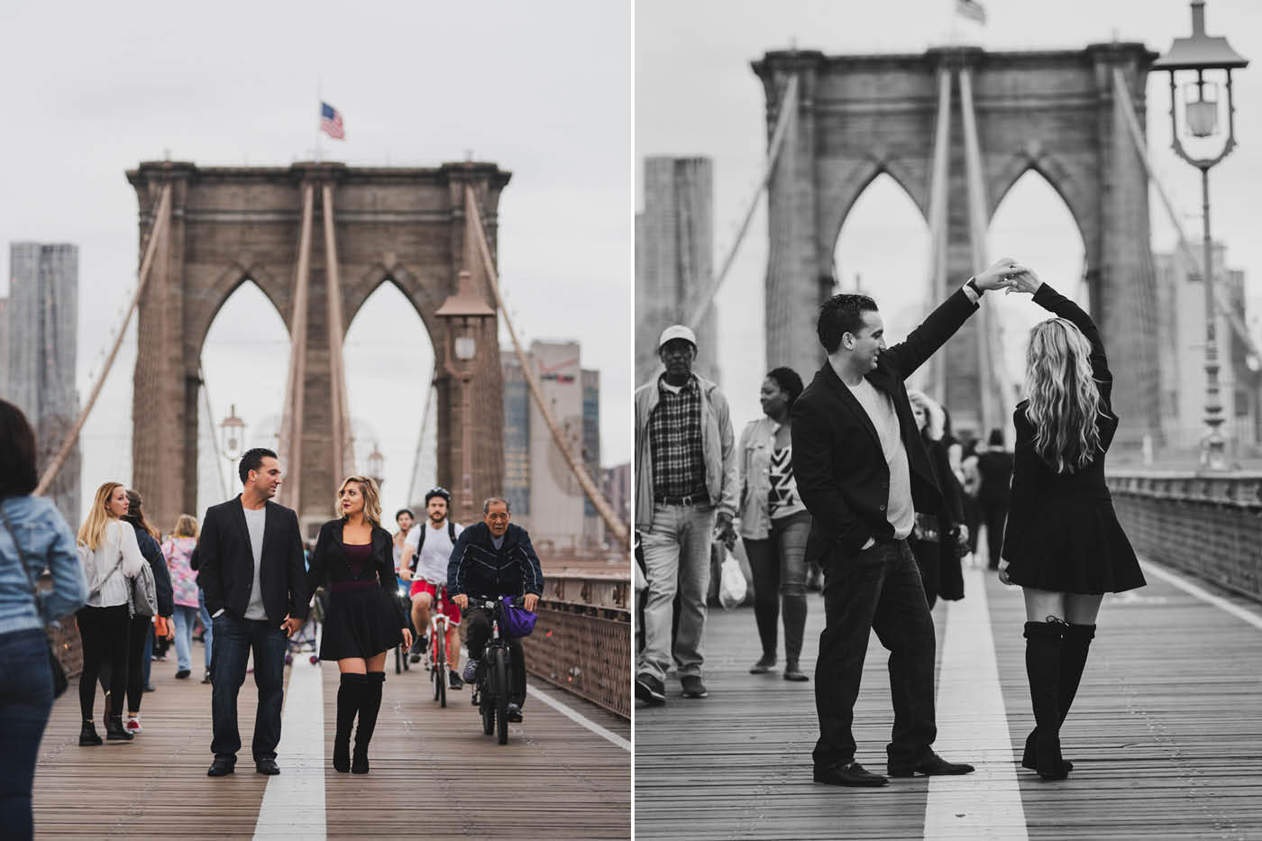 Kristina and Steven's engagement session on the Brooklyn Bridge by Weddings by Hanel