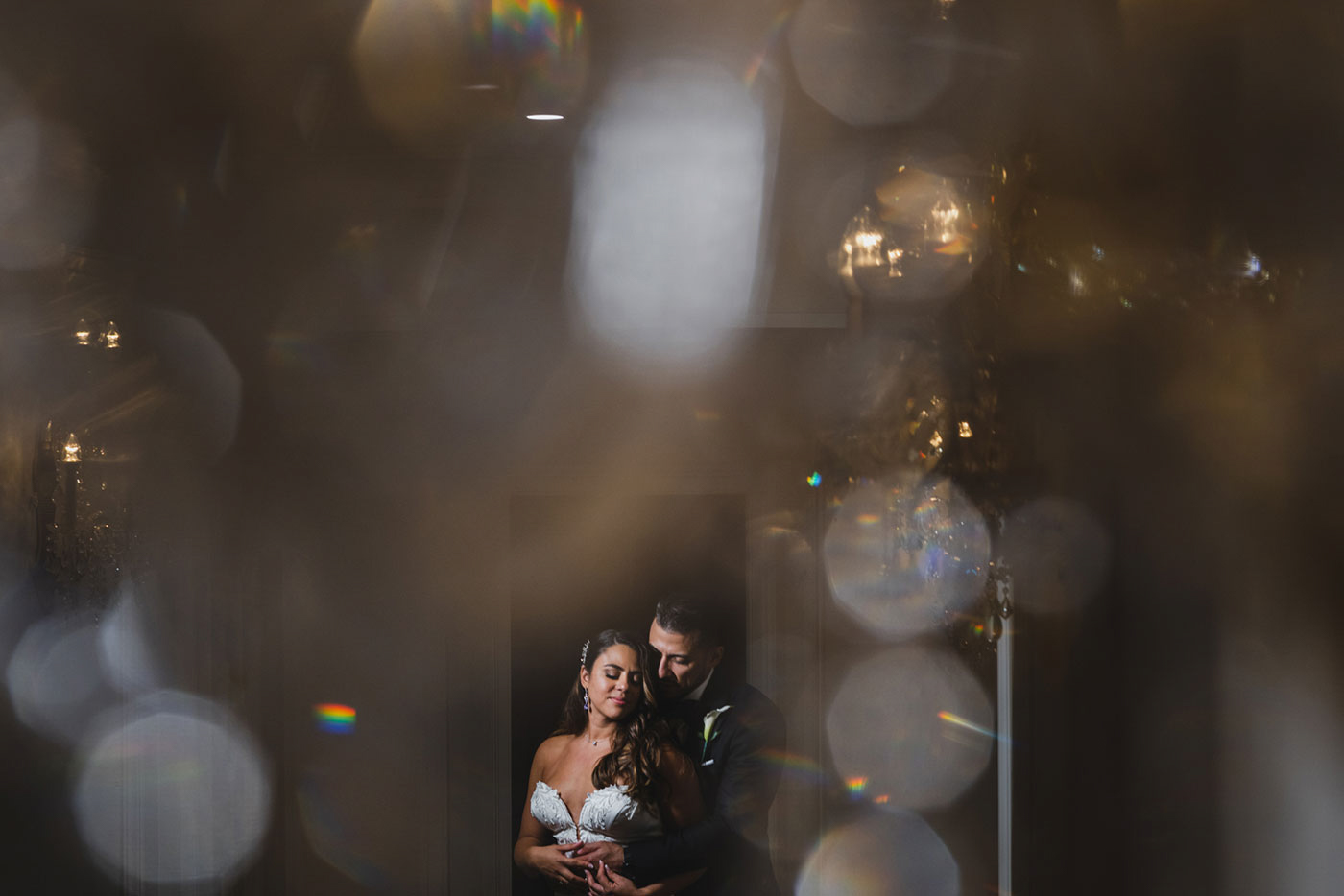 creative portrait of bride and groom at the Estate at Florentine Gardens by Weddings by Hanel