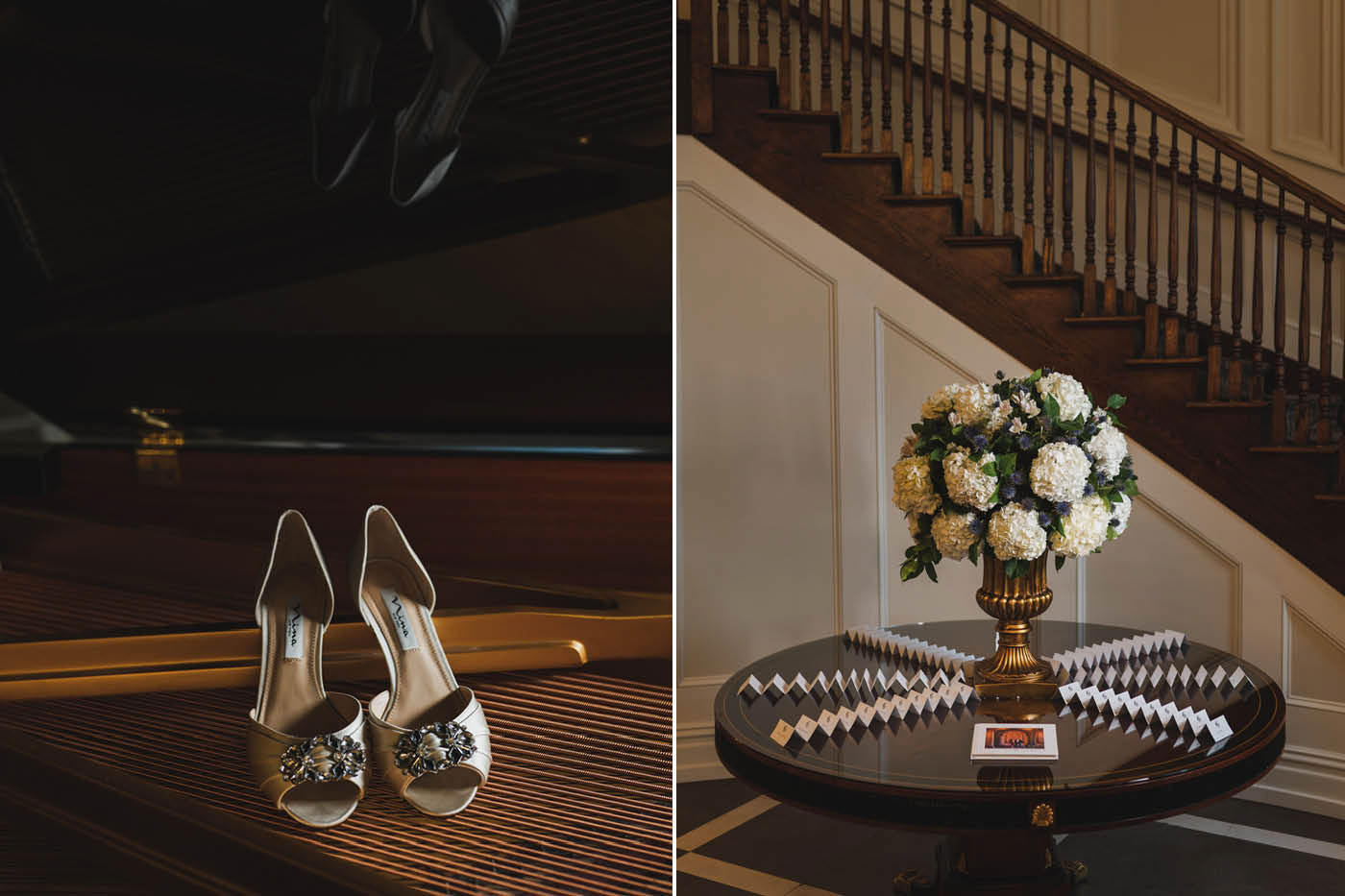 Wedding shoes and flower bouquet at the Estate at Florentine Gardens by Weddings by Hanel