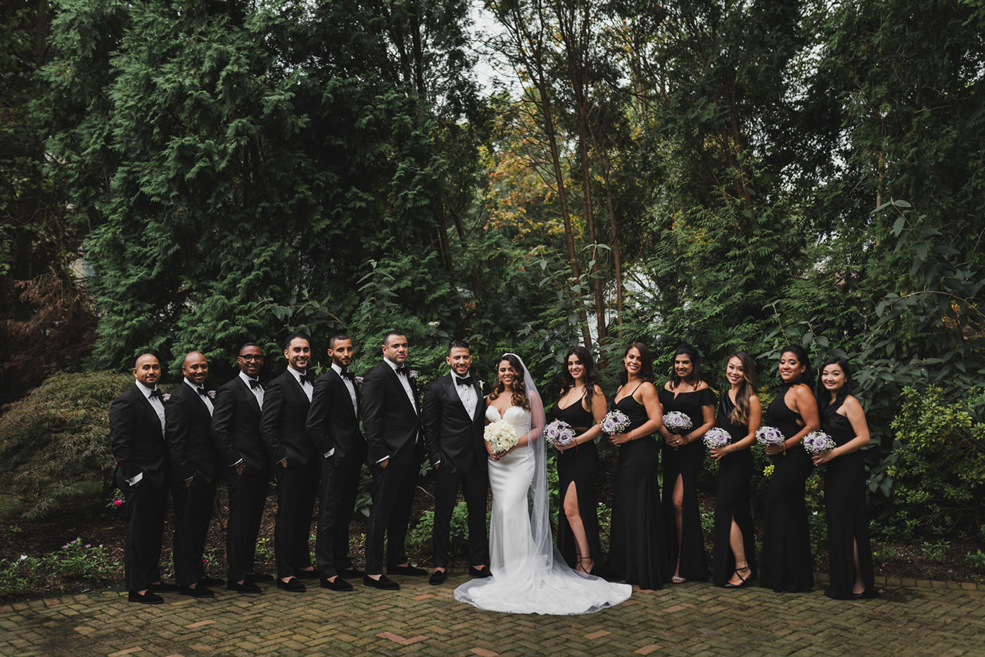 formal bridal party photo at the Estate at Florentine Gardens by Weddings by Hanel
