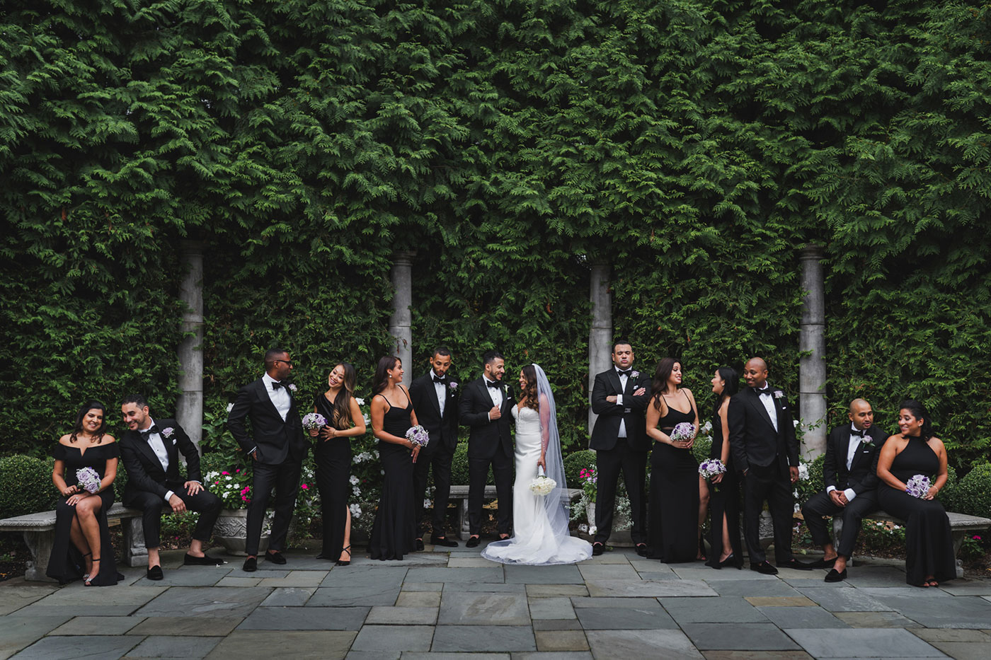 casual bridal party shot at the Estate at Florentine Gardens by Weddings by Hanel