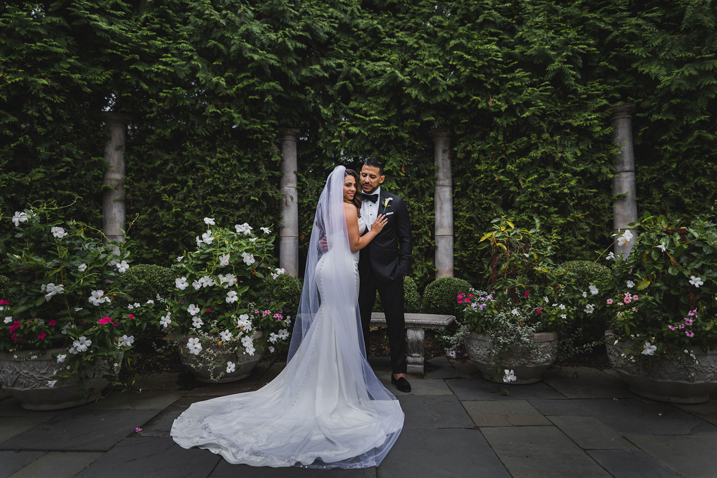 bride and groom couple portrait at the Estate at Florentine Gardens by Weddings by Hanel