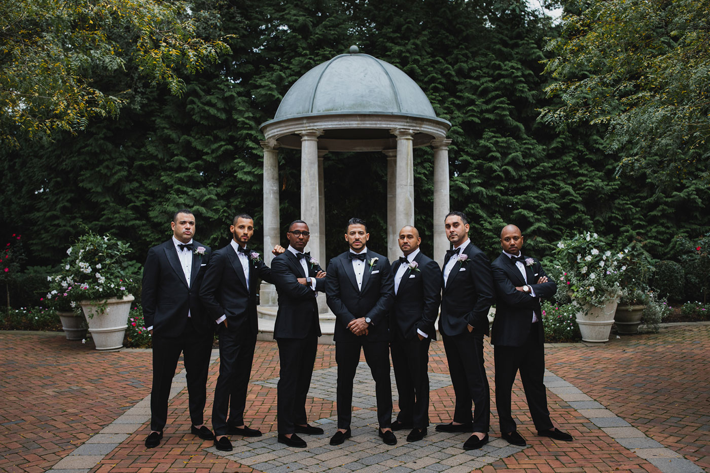 groom and groomsmen at the Estate at Florentine Gardens by Weddings by Hanel