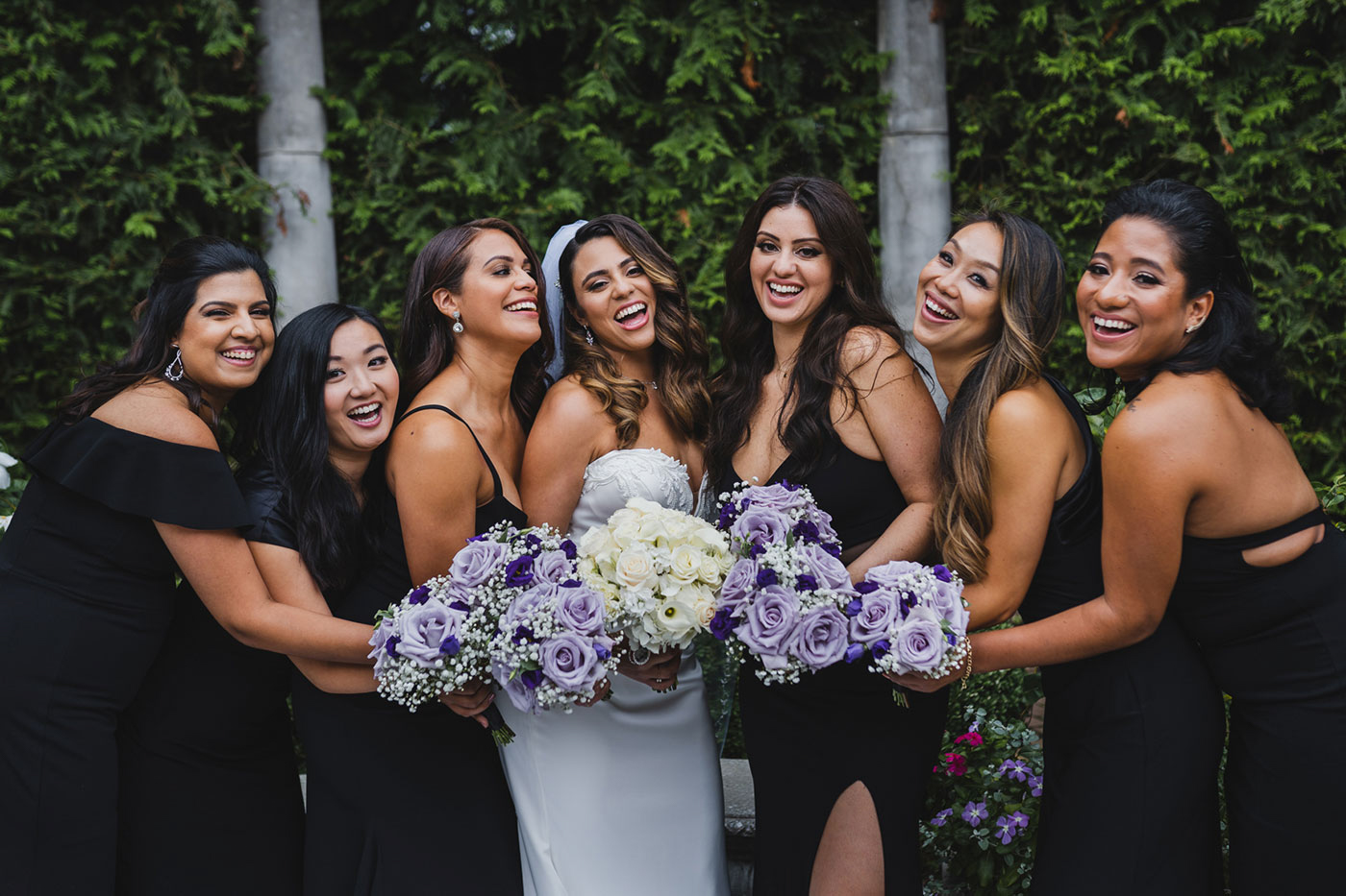bride and bridesmaids at the Estate at Florentine Gardens by Weddings by Hanel