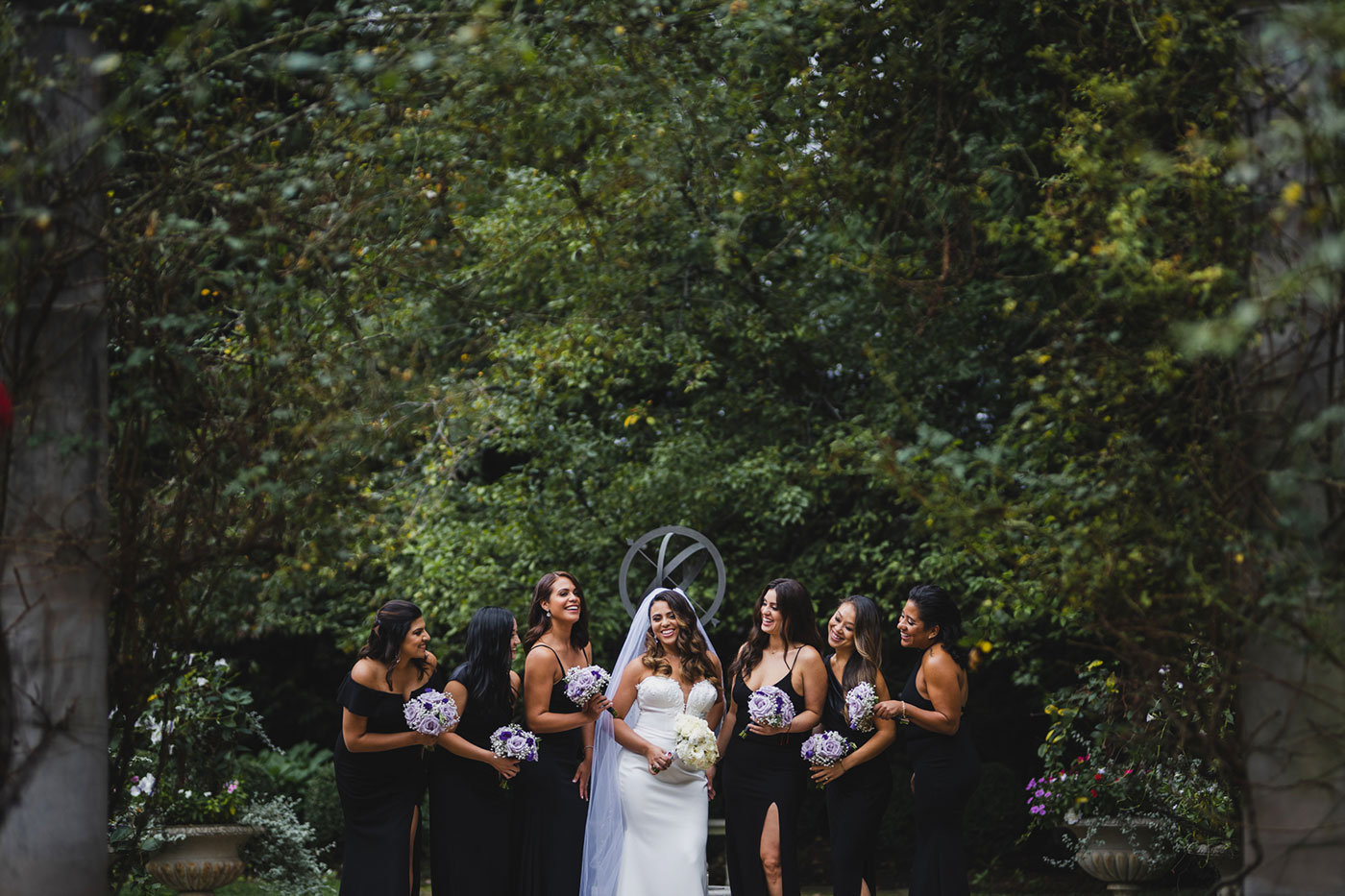 bride and her bridesmaids at the Estate at Florentine Gardens by Weddings by Hanel