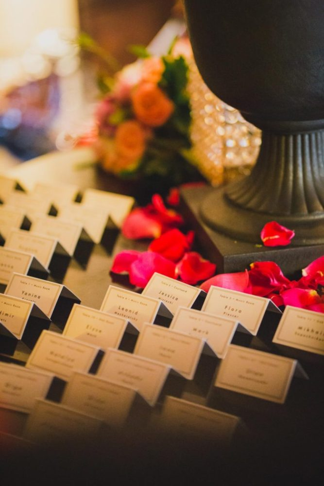 detail shot of name cards at the village club of sands club by hanel