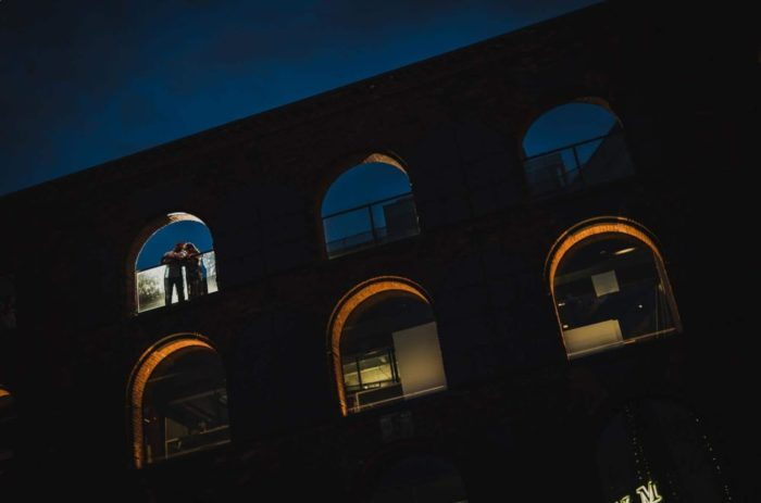 dramatic engagement session night shot in dumbo brooklyn by hanel